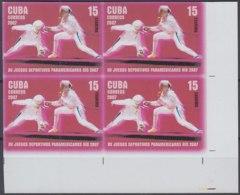 2007.653 CUBA 2007 MNH IMPERFORATED PROOF 15c FENCING, ESGRIMA, PANAMERICAN GAMES RIO DE JANEIRO BRASIL BRAZIL. - Kuba