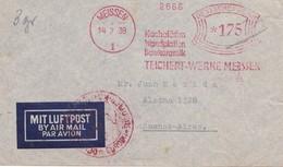 KACHELOFEN WNDPLATTEN BAUKERAMIK TEICHERT WERKE MEISSEN-AFFRANCHISSEMENT MECANIQUE 1939 GERMANY AIRMAIL-RARE - BLEUP - Usines & Industries
