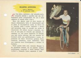 SCHEDA N° 21 MASPES ANTONIO CICLISMO ENCICLOPEDIA DELLO SPORT 1958/59 - Sport