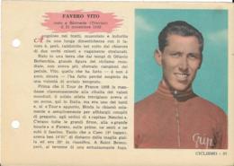 SCHEDA N° 37 FAVERO VITO CICLISMO ENCICLOPEDIA DELLO SPORT 1958/59 - Sport