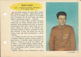 SCHEDA N° 15 BONI GUIDO CICLISMO ENCICLOPEDIA DELLO SPORT 1958/59 - Sport