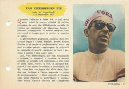 SCHEDA N° 17 VAN STEENBERGEN RIK CICLISMO ENCICLOPEDIA DELLO SPORT 1958/59 - Sport
