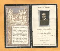 GENEALOGIE FAIRE PART DECES    FERDINAND CARON PROCUREUR REPUBLIQUE LAON EPOUX SAINTE CLAIRE DEVILLE 1847 1900 - Obituary Notices