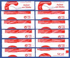 Continente Supermercados, Portugal 2019 - Açúcar Em Sticks / Série Complète 10 Sachets Vides - Numéroté 1/10 - Sucres