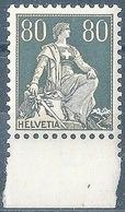 Helvetia Mit Schwert 141z, 80 Rp,grau/hellorange  **          1934 - Switzerland