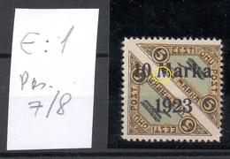 ESTLAND ESTONIA 1923 Michel 43 B E: 1 ERROR Abart Variety * Privatzähnung Private Perforation - Estland