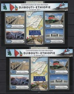 Djibouti (2017) - 2 Blocks -  /  Joint With EthiopiaTrain - Trenes - Locomotives - Eisenbahn - Trains - Gezamelijke Uitgaven