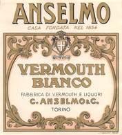"""07739 """"VERMOUTH BIANCO - FABBRICA DI VERMOUTH E LIQUORI C. ANSELMO & C. - TORINO"""" ETICH. ORIG - Etichette"""