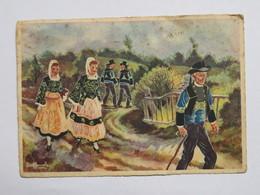Carte Postale : Dessin De HOMUALK: En Parcourant La BRETAGNE : LOCRONAN, En 1942 - Locronan