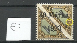"ESTLAND ESTONIA 1923 Michel 43 B E: 1 ERROR Abart Variety Damaged ""T"" * Private Perforation - Estland"