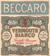 "07740 ""VERMOUTH BIANCO - FRATELLI BECCARO - ACQUI (PIEMONTE)"" ETICH. ORIG - Etichette"