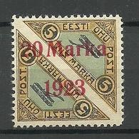 ESTLAND ESTONIA 1923 Michel 44 Ba * Privatzähnung Private Perforation - Estonie