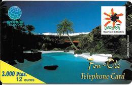 CARTE-PREPAYEE-12 €-ESPAGNE-WORLD TELECOM--LANZAROTE-Exp 01/10/00-Plastic Epais--GR ATTE- TBE - Espagne
