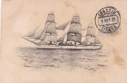 FRAGATA SARMIENTO OLD CPA OBLITERE LISBOA AN 1909 - BLEUP - Voiliers