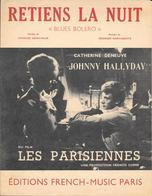 """Partition 1962  -  """"RETIENS LA NUIT """" JOHNNY HALLYDAY -CATHERINE DENEUVE - FILM LES PARISIENNES Paroles Ch.AZNAVOUR - Partitions Musicales Anciennes"""