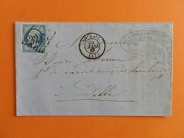 EMPIRE DENTELE 22 SUR LETTRE DE ROUBAIX A LILLE DU 20 MARS 1867 (GOS CHIFFRE 3218) - Postmark Collection (Covers)
