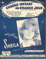 """Partition 1964  -  SHEILA  - """"CHAQUE INSTANT De CHAQUE JOUR - Editions PIGALLE - - Partitions Musicales Anciennes"""