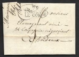 Vendée-Lettre Avec Marque Linéaire 79 FONTENAY LE COMTE (32*15)-Pour Bordeaux - Marcophilie (Lettres)