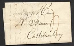 Lettre Avec Marque Linéaire 33 MONTPELLIER-Pour Castelnaudary - Marcophilie (Lettres)