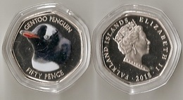 Falkland Islands - 50 Pence 2018 UNC Gentoo Penguin Lemberg-Zp - Malvinas