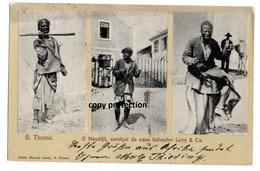 S. Thome, Servical Da Casa Salvador Levy & Ca., Sao Thome E Principe, Mit Briefmarken 10, Alte Ansichtskarte 1906 - Sao Tome And Principe