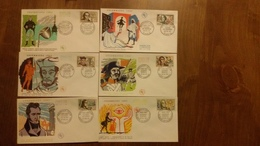 Premier Jour  FDC.. CELEBRITES  1963/ AMYOT / VAUQUELIN / L HOSPITAL / MARIVAUX / DE VIGNY / DAVIEL / MEHUL - Other