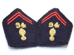 Ecusson Militaire Tissu/Patch - 94ème Régiment D'Infanterie (Paire Pattes De Col)- Military Badges P.V. - Patches