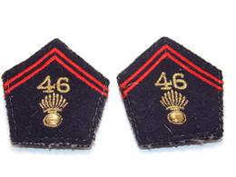 Ecusson Militaire Tissu/Patch - 46ème Régiment D'Infanterie (Paire Pattes De Col)- Military Badges P.V. - Ecussons Tissu