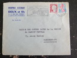 CLERMONT FERRAND GARE - PUY DE DOME - FLAMME CENTRE TOURISTIQUE SUR MARIANNE DECARIS ET SEMEUSE ROTY - Marcophilie (Lettres)