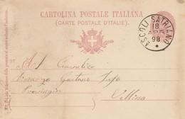 Ascoli Satriano. 1898. Annullo Grande Cerchio ASCOLI SATRIANO, Su Cartolina Postale Con Testo - 1878-00 Umberto I