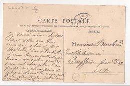 CLUNY : CPA De 1907 :  Cachet Boite Rurale  K2   ( Non Identifiée ) : Saône Et Loire - Poststempel (Briefe)