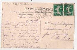 CLUNY : CPA De 1909 :  Cachet Boite Rurale  I   ( Non Identifiée ) : Saône Et Loire - Poststempel (Briefe)