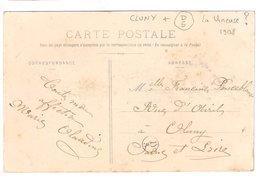 CLUNY : CPA De 1908 :  Cachet Boite Rurale  D5   ( Non Identifiée ) : Saône Et Loire - Poststempel (Briefe)