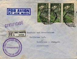 1971 , CANARIAS , SOBRE CERTIFICADO , CORREO AÉREO , SANTA CRUZ DE TENERIFE - HEILBRONN , BANCO HISPANO AMERICANO - 1971-80 Covers