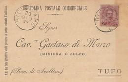 Ricigliano. 1899. Annullo Grande Cerchio RICIGLIANO, Su Cartolina Postale Commerciale - 1878-00 Umberto I