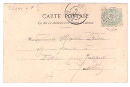 CLUNY : CPA De 1905 :  Cachet Boite Rurale  F   ( Non Identifiée ) : Saône Et Loire - Poststempel (Briefe)