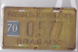 CHAPA RODADO CIRCA 1950s BRAGADO PROVINCIA DE BUENOS AIRES SIZE 18.5x10.5 Cm WEIGHT 121 Grs - BLEUP - Motos