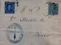 1877 , ASTURIAS , ALFONSO XII , IMPUESTO DE GUERRA , CARTA CIRCULADA , OVIEDO - DIRECCIÓN DEL HOSPITAL PROVINCIAL - 1875-1882 Royaume: Alphonse XII