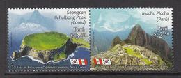2013 Peru Links With Korea Flags Machu Pichu   Complete Set Of 2  MNH - Pérou