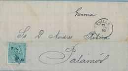 1873 , SEVILLA - PALAMÓS ( GERONA ) , CARTA CIRCULADA , LLEGADA AL DORSO - 1873 1. Republik