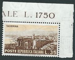 Italia 1953; Taormina , Propaganda Turistica Lire 35; Angolo Superiore. - 6. 1946-.. Repubblica
