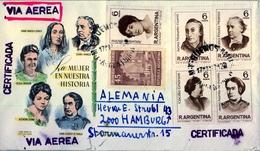 1967 , ARGENTINA , SOBRE CIRCULADO A HAMBURGO, LA MUJER EN NUESTRA HISTORIA. - Argentina