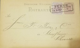 O) 1889 CIRCA-GERMANY - FURTH, CROWN OF ST STEPHE 5p,POSTAL STATIONERY XF - Germany