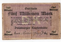 Allemagne - DUISBURG -  5 Millionen Mark - 15.08.1923 - [11] Emissioni Locali