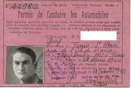 Permis De Conduire Les Automobiles Délivré En 1940, Duplicata De 1945  Régence De Tunis Protectorat Français - Documents Historiques