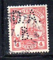 XP4387 - KIAO TCHEOU 1905, 4 Cents  Yvert N. 26 Usato  Losanghe . PERFIN - Colonie: Kiautchou
