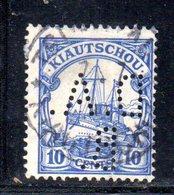 XP4388 - KIAO TCHEOU 1905, 10 Cents  Yvert N. 27 Usato  Losanghe . PERFIN (3/2380A) - Colonie: Kiautchou