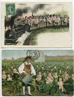 LOT De 2 CPA Fantaisies - Bébés ( Enfants ) Train Wagons Locomotive Vapeur Et Choux Homme Jardinier Arrosoir - Cartes Humoristiques