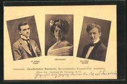AK Hamburg, Portraits Geschwister Bernetti, Humoristisches Konzert-Trio, Komiker, Tiecksweg 16 - Cartes Postales