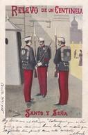 RELEVO DE UN CENTINELA. SANTO Y SEÑA. M PIROLO ILUSTRACION. TIPOLIT PALACIOS. CIRCULEE 1905 A BUENOS AIRES - BLEUP - Personajes
